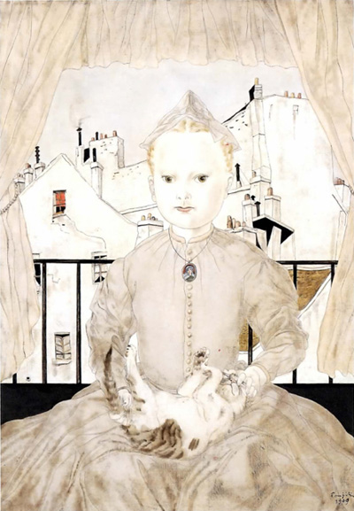 foujita-portrait-of-a-young-girl-with-a-cat-1951